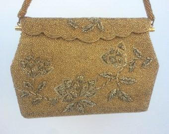 Gold Vintage Beaded Evening Bag, Bridal Purse, Bridal Evening Bag