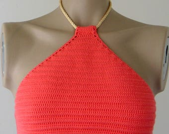 Crochet Top, Coral Bikini Top, Women Swimwear Top, Crochet Halter Top, Beach Wear, 2017 Summer Trends /// FORMALHOUSE