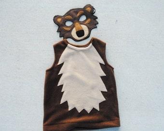 Grizzly Bear Costume - Mask, Vest, Mask & Vest Combo