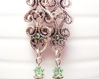 Peridot Swarovski Crystal Earrings with Flowers