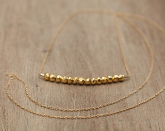 Delicate long Rough Gemstone Bar Necklace gold pyrite and 14k gold filled chain