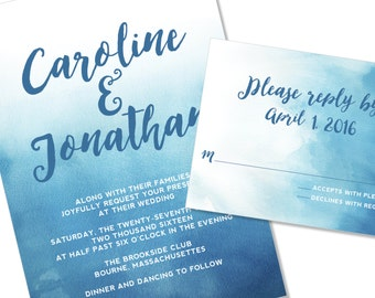 Watercolor Wedding Invitation | Ombre dip dyed Wedding Invitation | DIY Option Available | Invitation | RSVP | Info Card #123