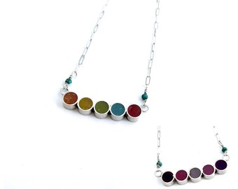 Petite Corful Silver Resin Necklace Chain Bar of Dots Circles Multicolor Handmade