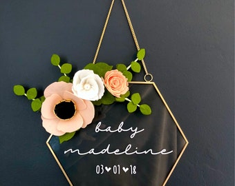 Nursery sign / nursery decor / baby gift / baby shower gift / glass hexagon sign / baby girl room / nursery decoration / newborn gift / girl