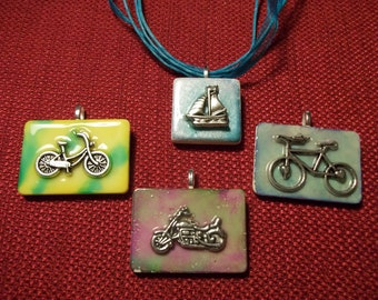 Choice of altered art alcohol ink dyed bike boat bicycle Game Piece Pendant Necklace