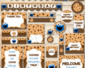 Little Blue Monster Birthday Printable Party Package