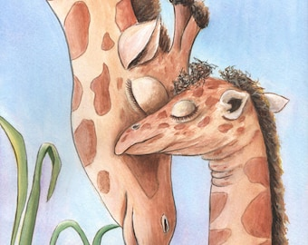 Jungle Nursery Animal Art | Giraffe Nursery Print | Gray Blue Boy's Nursery | Baby Animal Photo | Jungle Shower Gift Idea | 8 X 10-16 X 20
