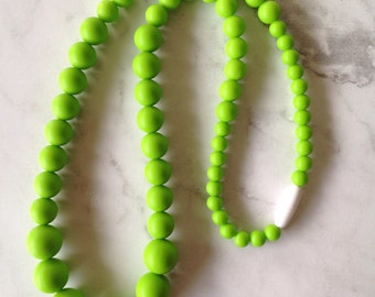 SALE! Silicone Teething Necklace - Lime Green