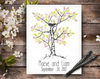 Wedding Hand Drawn Guestbook Tree, Wedding  Fingerprint Tree, Alternative Wedding Guest Book, Wedding Keepsake, Hand Lettered Font