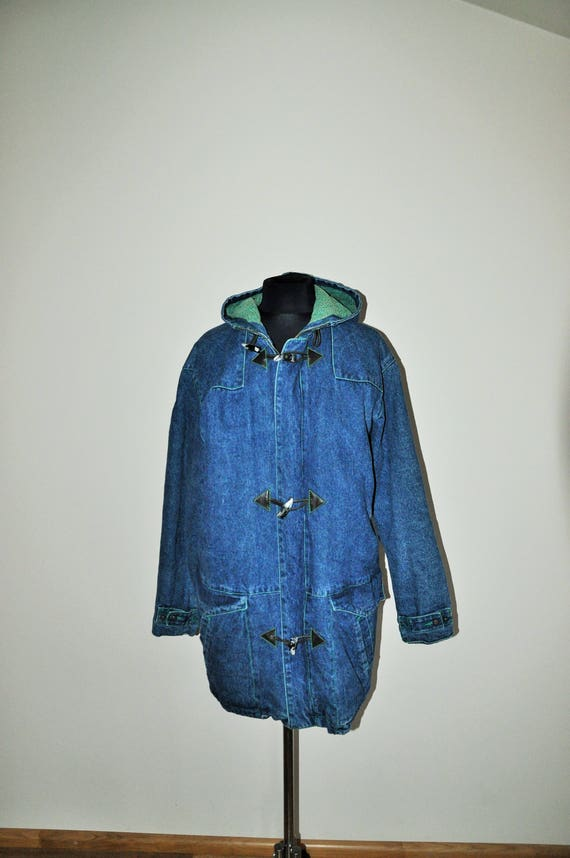 Denim Oversized Lined Grunge Coat warm Blazer Oversize Medium Jacket Autumn Jean inside m Outwear Vintage dq0RwHgd
