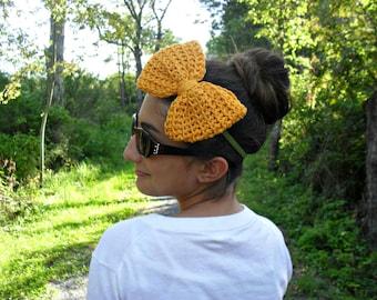 bow tie headband| big bow headband| gold mustard headband| statement headband