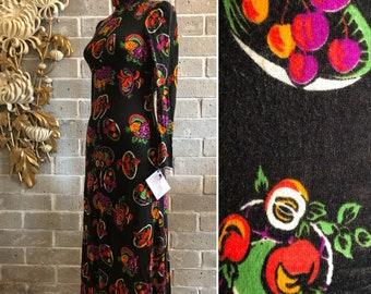1970s dress maxi dress vintage dress novelty print dress puff shoulders fruit print black dress mod dress high neck dress