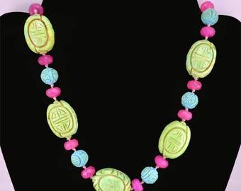 Vintage Ciner Necklace Ceramic / Glass Carved Beads Green / Blue / Hot Pink Hand Knotted