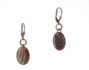 Mother of Pearl and Sterling Silver Leverback Earrings - Pearl's Mom - Free US shipping