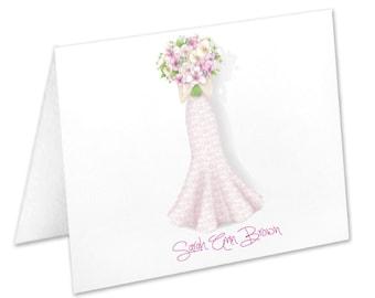 Personalized Bridal Shower Note Cards, Stationery Set, Thank You Cards, Wedding Dress, Wedding Flowers, Stationary, Notecards, Wedding Gown