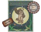 Day Art Nouveau Printable Celestial Fine Art Wall Decor 8X10 Sheet Absinthe Green Sun Stars Stained Glass Midnight Blue Sun Goddess