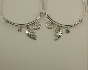 Mother daughter heart charm bangle