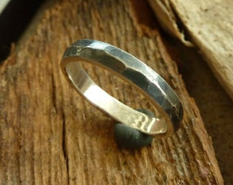 Silver Ring with hammered texture.