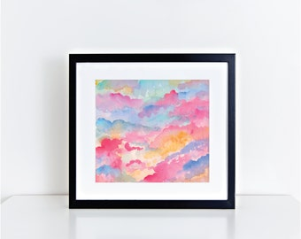 "Abstract Cloud Watercolor Print Summer Colors ""Ice Cream Clouds"""