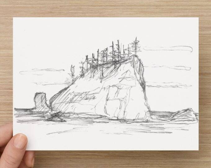 Pencil Sketch of Seastack near 2nd Beach in Olympic National Park - Drawing, Art, Landscape, Rock, Ocean, Coast, 5x7, 8x10, Print