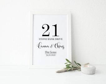 A4 Personalised 'Our home' Address detail Print