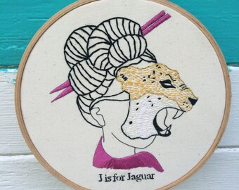Hand Embroidery Kit, D.I.Y. Embroidery Kit, J is for Jaguar Embroidery Kit