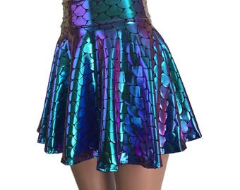 Mermaid Holographic High Waisted Skater Large Scales - Clubwear, Rave Wear, Mini Circle Skirt