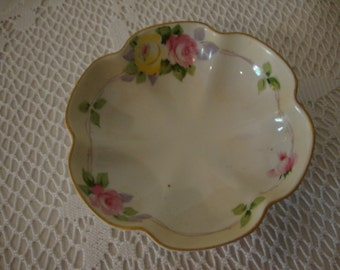 Vintage NIPPON Yellow & Pink ROSE Ruffled Porcelain DISH - Shabby Chic - Cottage China - Nippon Bowl - Bon Bon, Trinket, Soap Dish
