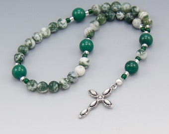 Anglican Prayer Beads - Tree Agate Gemstones - Christian Rosary - Spiritual Gift - Item # 760