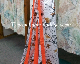 Made in the USA CAMO A Line Wedding / Prom Gown with sweep train 'Amanda'