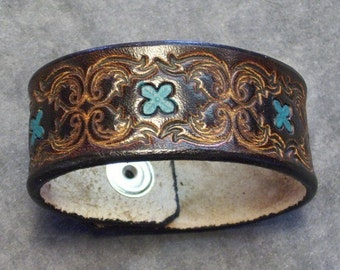 Handmade Leather Bracelet with scroll and small Teal Flowers