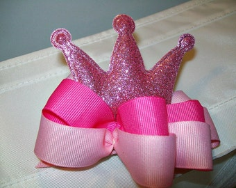 Crown Ribbon Bow Barrette - Glittery Pink