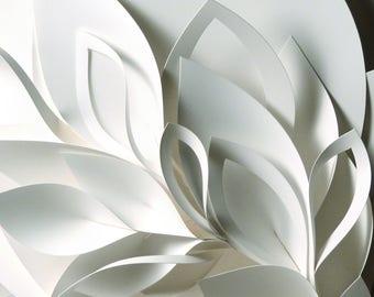 """11x14"""" Wall Art, White Petals Flower Fine Art Photo Print, paper sculpture"""