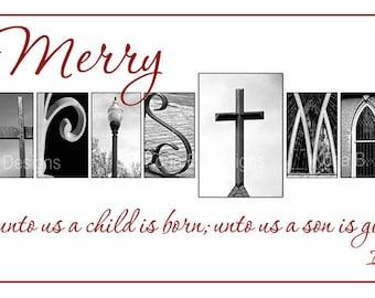 Christmas Alphabet Photography Print- 10x20 Unframed