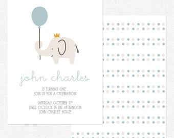 Elephant Birthday Invitation | Boy Birthday Parth | Simple Elephant and Balloon | First Birthday-FREE SHIPPING or DIY printable