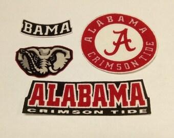 Alabama Crimson Tide 4pc set Iron On Fabric Appliques No Sew