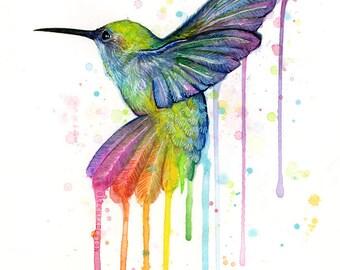 Hummingbird Watercolor Art Print Hummingbird Painting Hummingbird Wall Art Hummingbird Print Rainbow Hummingbird Animal Watercolor Giclee