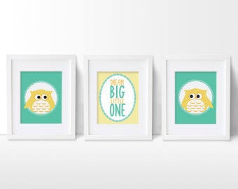 Owl Nursery Art Prints, Woodland Nursery Artwork Set, Owl Wall Art, Dream Big Nursery Art Print Set, Baby Wall Art, Owl Nursery Wall Art