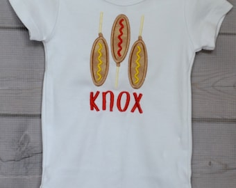 Personalized Corn Dogs Applique Shirt or bodysuit Girl