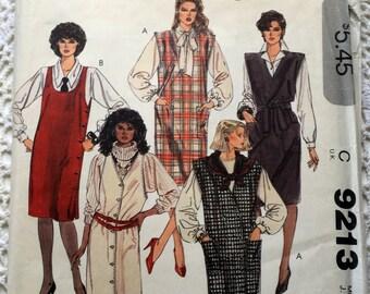 Vintage 80s McCall's 9213 Jumper Dresses Size 8
