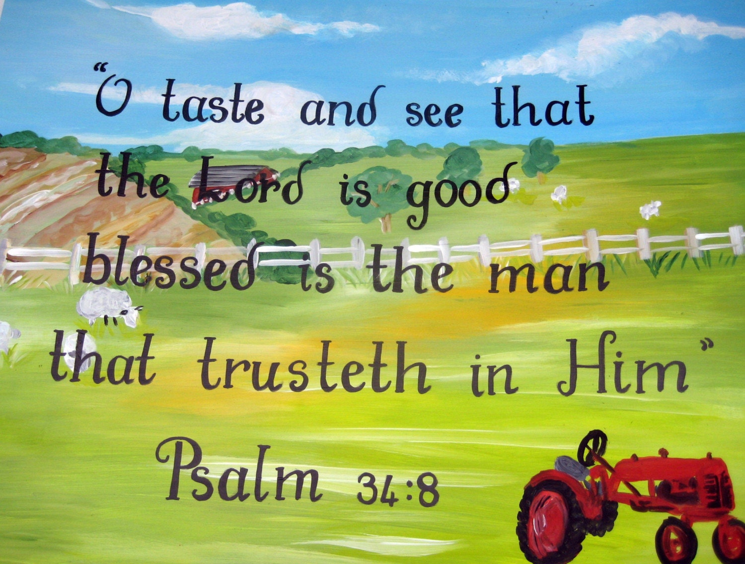 inspirational farm paintingred tractorbible verseboys wall