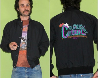 Vintage Button Up Black Bomber Jacket. Retro Country Corral Mens Or Womens Vintage Bomber Coat. 80s Embroidered Jacket. 90s Country Bomber.