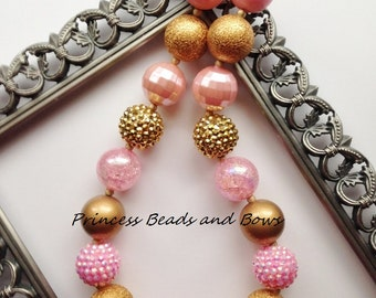 Shades of Pink and Gold Chunky Necklace, Valentine's Day Chunky Necklace, Bubble Gum Necklace, Kids, Girls, Baby, Photo Prop