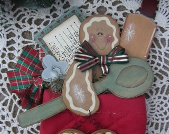 Gingerbread Baker Man - Christmas Holiday Decoration - Hand Painted Wood
