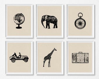 Safari Travel Nursery Art Print Set, Elephant, Giraffe, Compass, Globe, Vintage Travel Nursery Prints, Vintage Safari Boy Bedroom