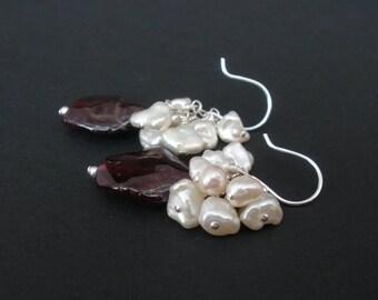Natural Gemstone Red Garnet and Keishi Pearl 925 Sterling Silver Cluster Earrings, Keshi or Keishi Pearl Cluster Earrings