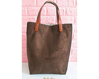 Tote brown suede handles faux leather - suedine bag, tote bag, shopping bag, handbag, birthday gift, mother's day