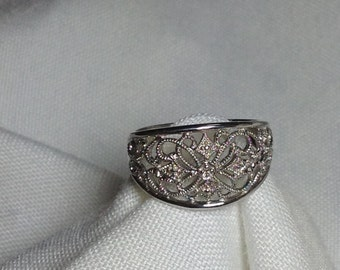 Sterling Silver Ornate Ring - Lace Ring