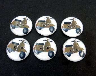 "6 Retro Brown Scooter Buttons.  Sewing Buttons.  Washer and dryer Safe.  3/4"" or 20 mm."