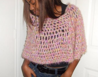 Hand Crochet Poncho in Shades of Pink